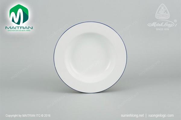 Dĩa gốm sứ Minh Long Dĩa súp 23 cm Camellia chỉ xanh dương