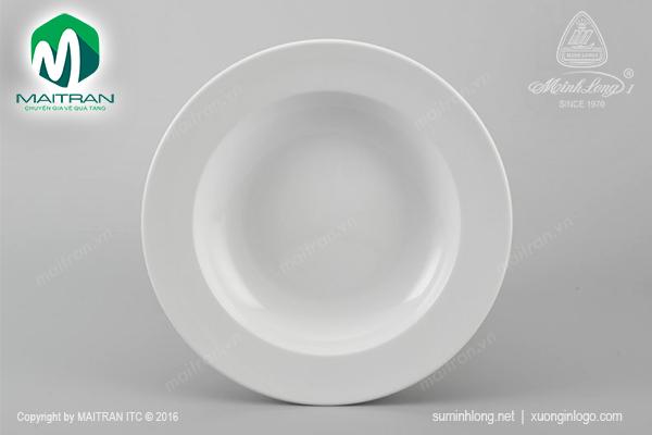 Dĩa gốm sứ Minh Long dĩa súp 20 cm Jasmine trắng