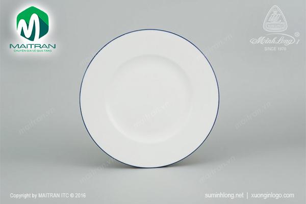 Dĩa gốm sứ Minh Long dĩa tròn Camellia chỉ xanh dương 22 cm