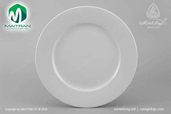 Dĩa gốm sứ Minh Long dĩa tròn 25 cm Jasmine trắng
