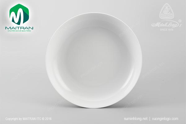 Dĩa gốm sứ Minh Long dĩa tròn 25 cm sâu Camellia trắng