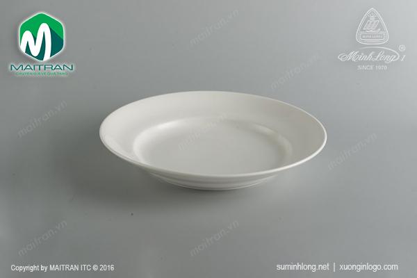 Dĩa gốm sứ Minh Long dĩa vành sâu 23 cm Jasmine trắng