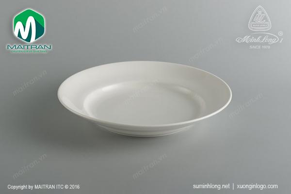 Dĩa gốm sứ Minh Long dĩa vành sâu 27 cm Jasmine trắng