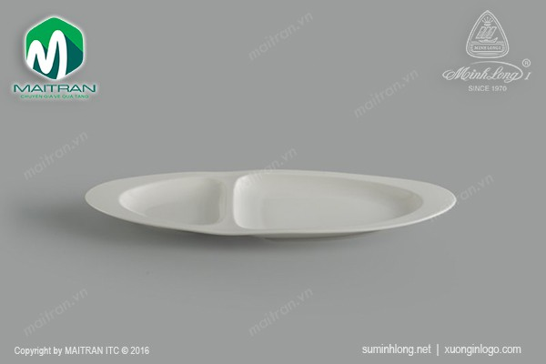 Ly's Horeca gốm sứ Minh Long Dĩa oval hai ngăn Gourmet ly's Horeca 40cm