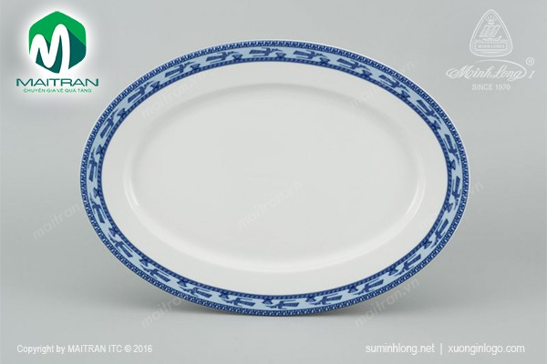 Dĩa gốm sứ Minh Long Dĩa oval 32 cm Jasmine Chim Lạc