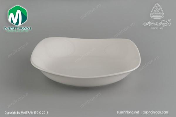 Ly's Horeca gốm sứ Minh Long Dĩa vuông sâu Jasmine 18 cm