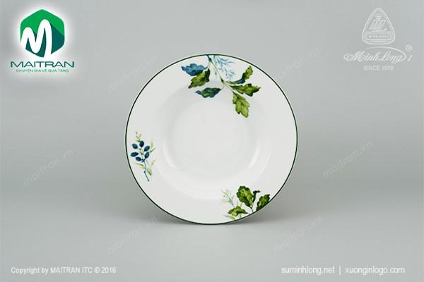Dĩa gốm sứ Minh Long Dĩa súp 20 cm Camellia Lá Xanh