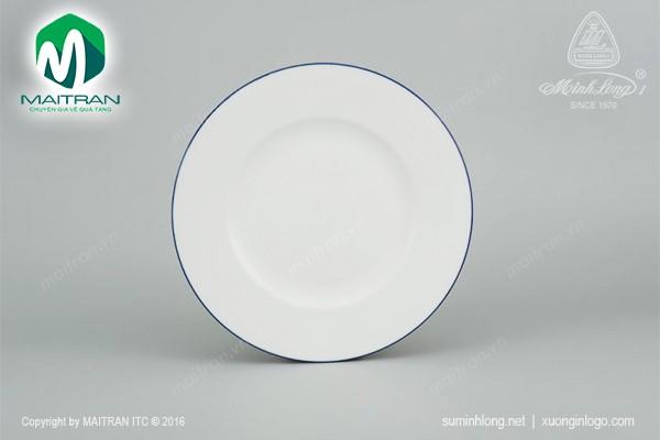 Dĩa gốm sứ Minh Long Dĩa tròn 20 cm gốm sứ Minh Long camellia chỉ xanh dương
