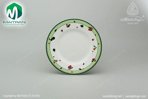 Dĩa tròn 20 cm gốm sứ Minh Long Camellia quả ngọt