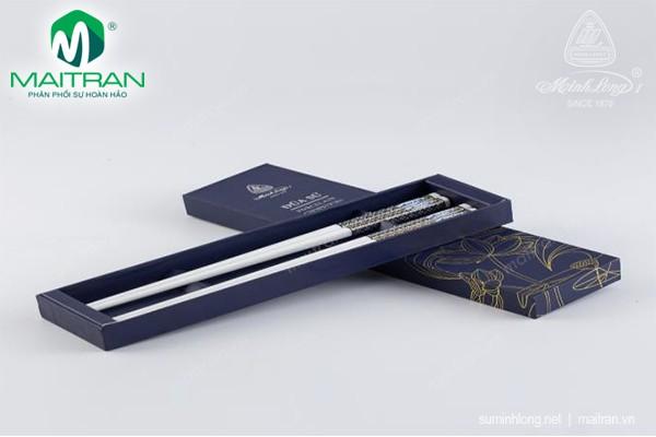 Đũa muỗng sứ Minh Long Đũa sứ dưỡng sinh Xanh trang trí vàng 1 24.4 cm (10 đôi/HQ)