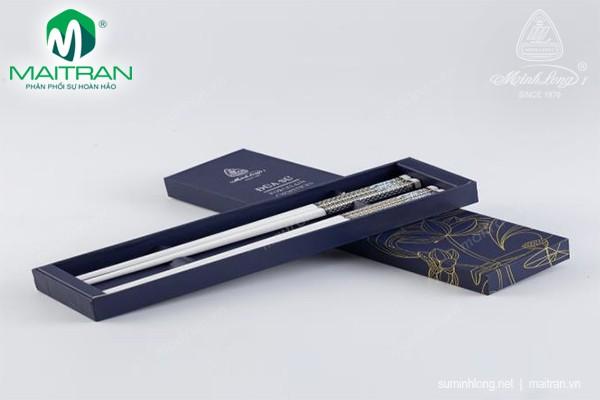 Đũa muỗng sứ Minh Long Đũa sứ dưỡng sinh Xanh trang trí vàng 4 24.4 cm (10 đôi/HQ)