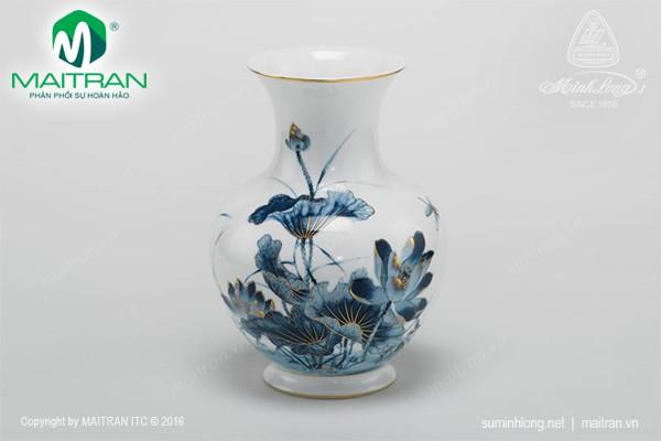 Bình hoa gốm sứ Minh Long Giỏ hoa Sen Vàng 22 cm