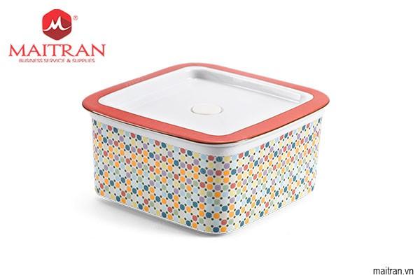 Hộp sứ dưỡng sinh Minh Long Hộp sứ dưỡng sinh vuông đựng thực phẩm 15 cm + nắp - Mosaic (LTD)