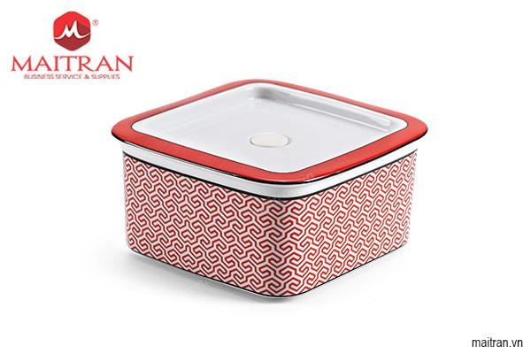 Hộp sứ dưỡng sinh Minh Long Hộp dưỡng sinh vuông đựng thực phẩm 15 cm + nắp - Red Karakusa (LTF)