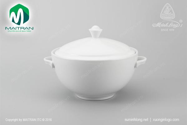 Thố gốm sứ Minh Long Thố 18 cm Camellia trắng