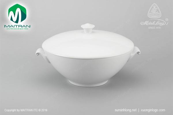 Thố gốm sứ Minh Long Thố 1.8 L Daisy trắng