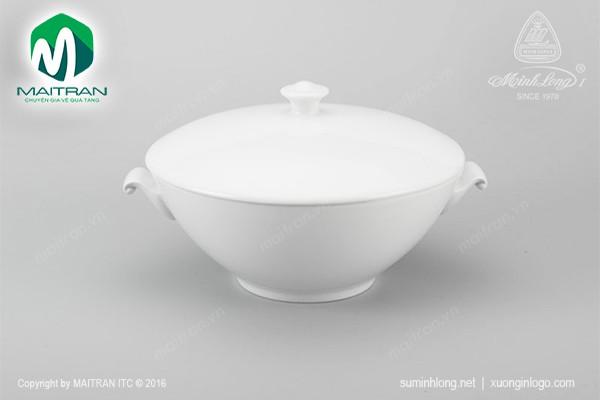 Thố gốm sứ Minh Long Thố 3.0 L Daisy trắng