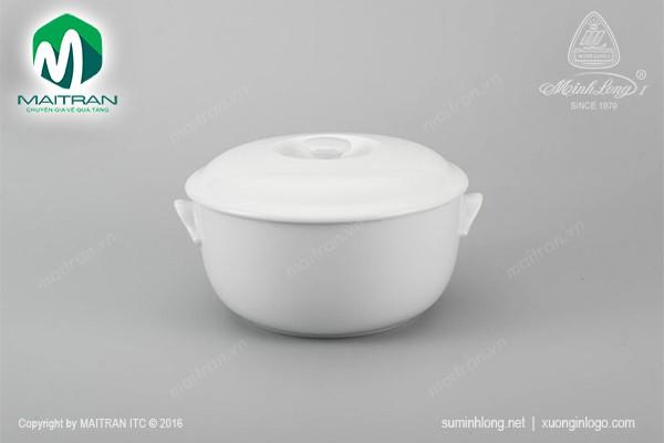Thố gốm sứ Minh Long Thố 22 cm Jasmine trắng