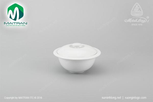 Thố gốm sứ Minh Long Thố Vành 12 cm Jasmine trắng