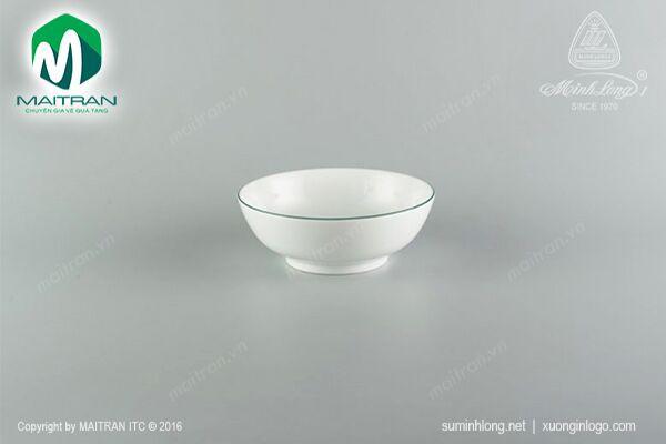 Tô gốm sứ Minh Long Tô thấp 20 cm chỉ xanh lá