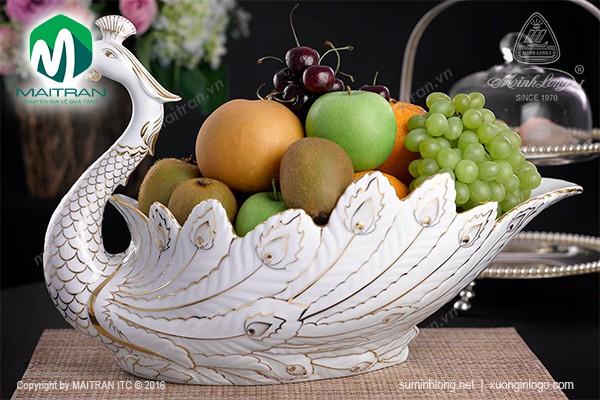 Tô trái cây gốm sứ Minh Long Tô trái cây Khổng Tước viền chỉ vàng