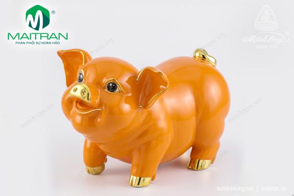 Tượng gốm sứ Minh Long Tượng Bách Lộc Cam chỉ Vàng 24.5 cm