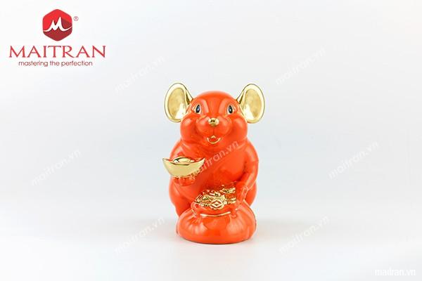 Tượng gốm sứ Minh Long Tượng Chuột Phú 20 cm Màu cam trang trí vàng