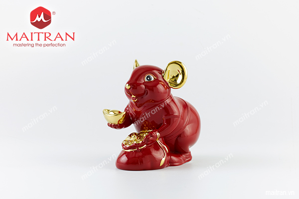 Tượng Chuột Phú 20 cm Màu đỏ Trang trí vàng