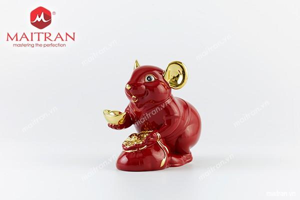Tượng gốm sứ Minh Long Tượng Chuột Phú 8 cm Màu đỏ trang trí vàng