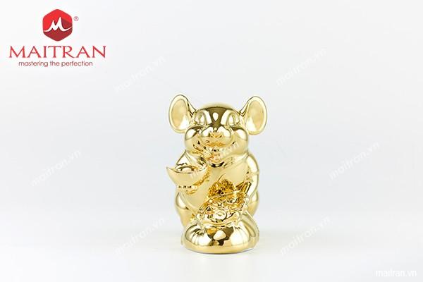 Tượng gốm sứ Minh Long Tượng Chuột Phú 20 cm Dát vàng