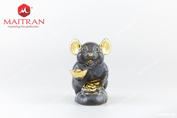 Tượng Chuột Phú 8 cm Màu xám trang trí vàng