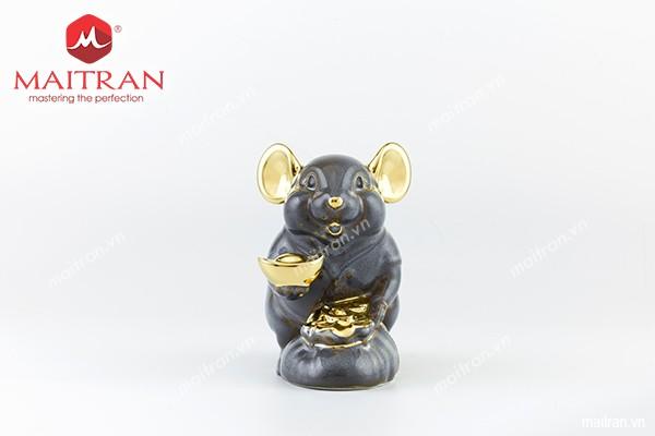 Sản phẩm gốm sứ Minh Long mới Tượng Chuột Phú 8 cm Màu xám trang trí vàng