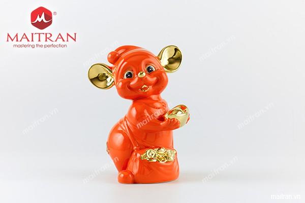 Tượng gốm sứ Minh Long Tượng Chuột Quý 16 cm Màu cam Trang trí vàng