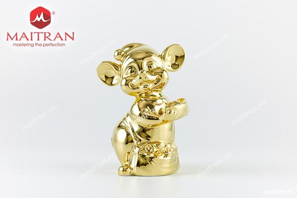 Tượng gốm sứ Minh Long Tượng Chuột Quý 10 cm Dát vàng