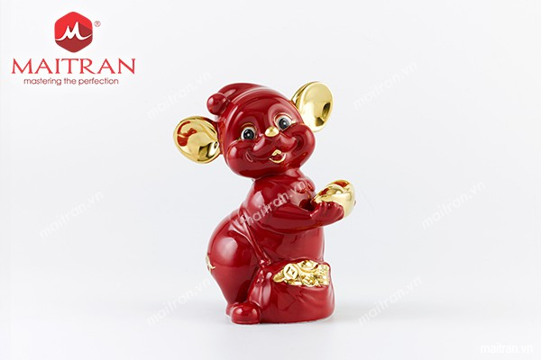 Sản phẩm gốm sứ Minh Long mới Tượng Chuột Quý 10 cm Màu đỏ trang trí vàng
