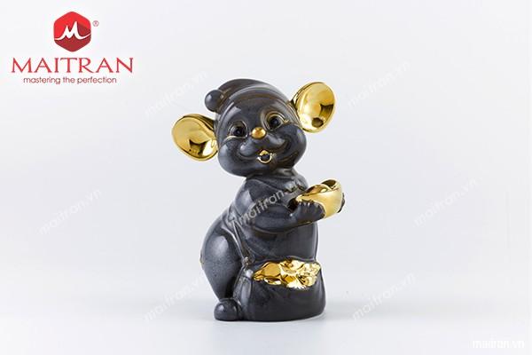 Tượng gốm sứ Minh Long Tượng Chuột Quý 16 cm Màu xám Trang trí vàng