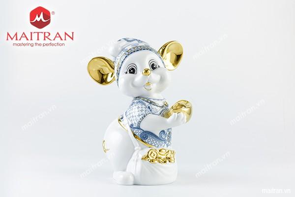 Tượng gốm sứ Minh Long Tượng Chuột Quý 24 cm Họa Tiết Sen Cobalt