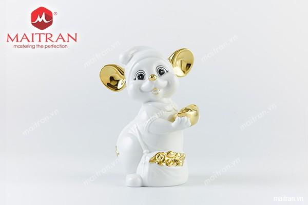 Tượng gốm sứ Minh Long Tượng Chuột Quý 16 cm Màu trắng Trang trí vàng