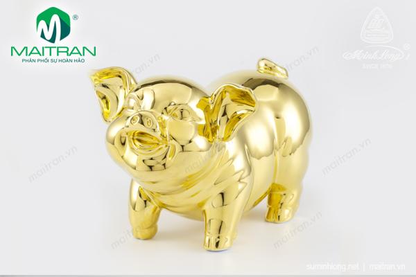 Tượng gốm sứ Minh Long Tượng Heo Bách Lộc Dát Vàng 24.5 cm