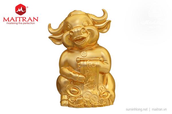 Trâu Hạnh Phúc 9.5cm - Dát Vàng