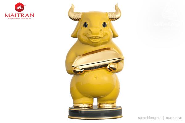 Trâu Như Ý 10cm - Màu Vàng - Trang trí vàng 24k