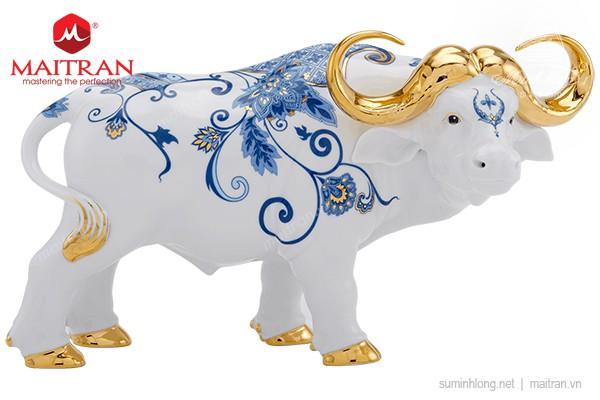Tượng gốm sứ Minh Long Trâu Vương giả  30cm - Sen Cobalt - Trang trí vàng 24k